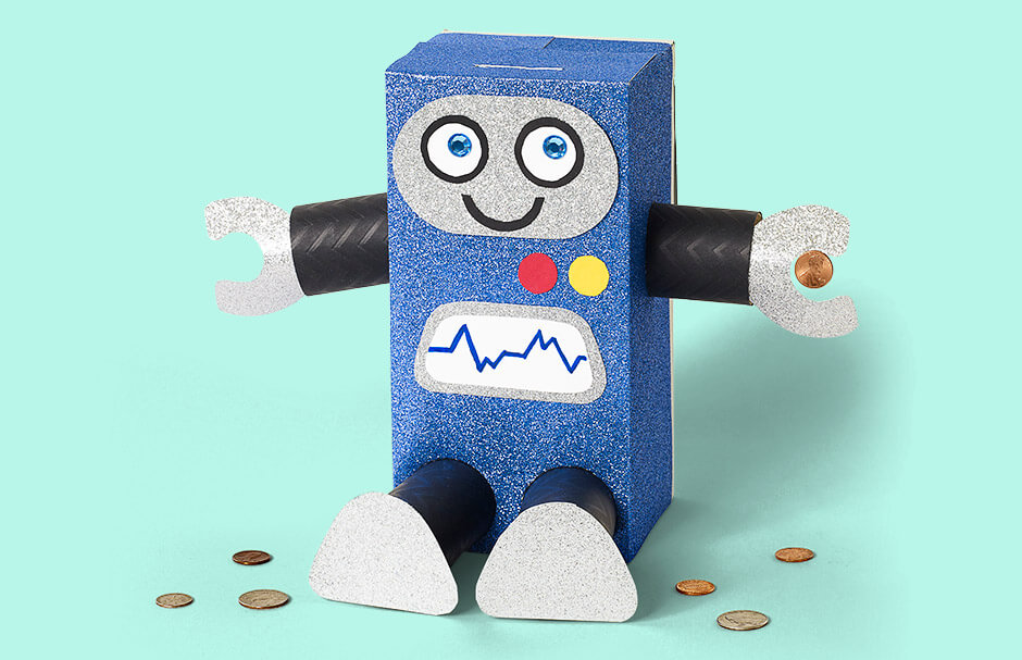 Craft Project for Kids: Recycled Material Retro Robots